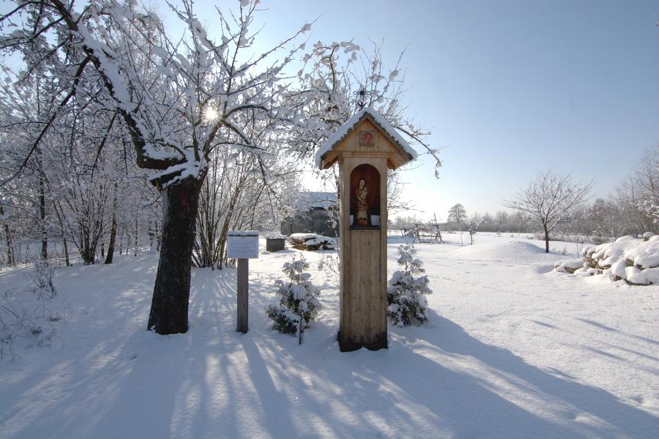 Św. Cecylia, kapliczka w Kocudzy, zima, fot. Mateusz Borny